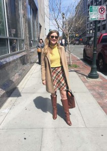 transition plaid skirt outfit