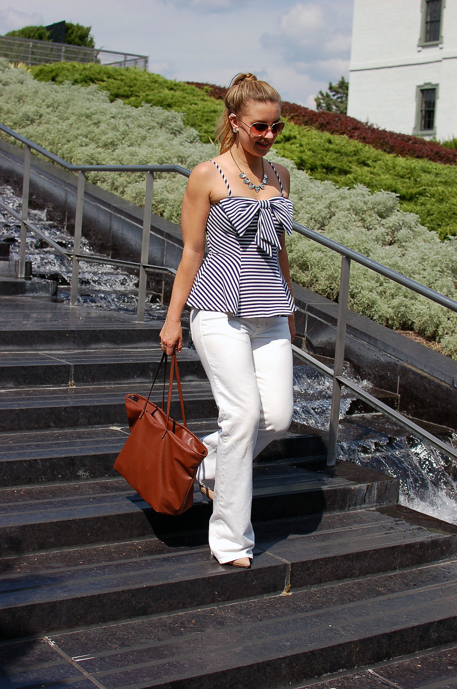 c2264be9a765bd sunny day outfit white pants outfit blue striped peplum shirt