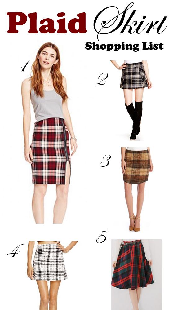 plaid skirt shopping list